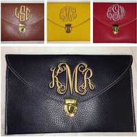 Monogrammed envelope clutch purse by christylous on Etsy