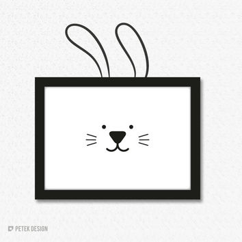 Set of Bunny Ears Wall Decal and Framed Poster / Kids Decor / Nursery Decals / Wall Decal Kids Bedroom / Rabbit Poster / Baby Shower Gift