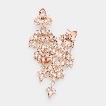 Crystal Marquise Cluster Dangle Evening Earrings