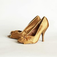 Spectacle Peep Toe Heels In Dark Gold By Poetic Licence | Modern Vintage Shoes