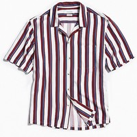 UO Rayon Vertical Stripe Short Sleeve Button-Down Shirt   Urban Outfitters