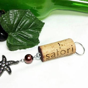 Upcycled Satori Cellars Wine Bottle Cork Keychain/Wine Glass Starfish Key Chain/Repurposed Vino Winery Cork/Beach lover Key Ring