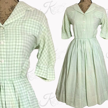 Vintage 50s Dress, 1950s Dress, 50's Green Dress, 1950's Gingham Dress, Full Skirt Dress, 50s Medium Dress, 50s Shirtdress 50s Day Dress