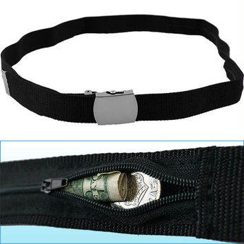 53 inch Belt with Hidden Zippered Storage Pocket - 53 inches