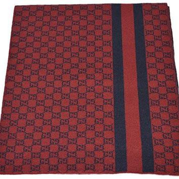 ca kuyou Gucci Men's Burgundy Red Wool Web Stripe GG Guccissima Scarf Muffler