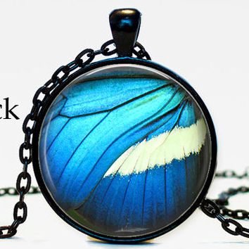 Blue butterfly wing necklace pendant, cat,book,book self, gifts for book lover, blue, butterfly, butterfly wing,resin, glass cabochon