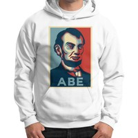 """ABE Lincoln ""Hope"" Design"" Gildan Hoodie (on man)"