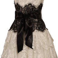 Strapless Bustier Contrast Lace and Crinoline Ruffle Prom Mini Dress Junior Plus Size, XS, Ivory-Black