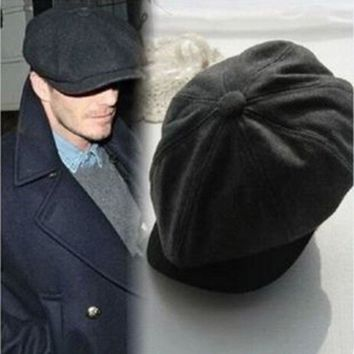 2016 Fashion Wool Tweed Gatsby Cap Mens Ivy Hat Driving Winter Sun Flat Cabbie Newsboy Newest