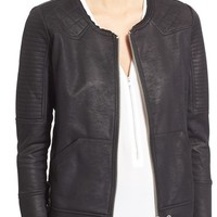 The Kooples Coated Cotton Biker Jacket | Nordstrom