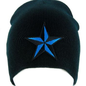 ac spbest Blue Nautical Star Beanie Alternative Clothing Knit Cap Rockabilly Tattoo Ink