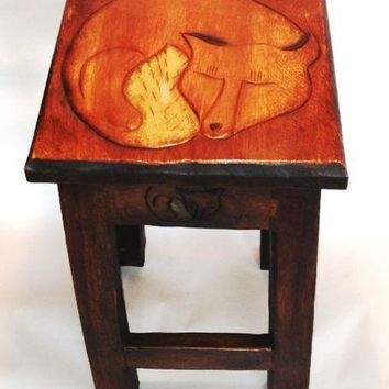 Sleeping Fox Hand Carved Wooden Stool/Table