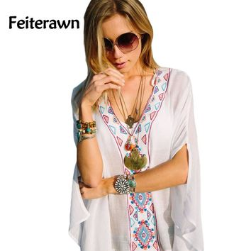 Feiterawn 2017 Batwing Sleeves Loose Fit Tunic Beach Dress Embroidered Sexy V Neck Flowy White Beach Cover Up Kaftan DL42167