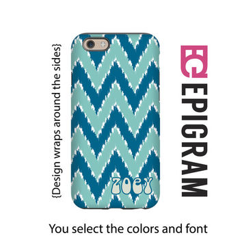 Personalized iPhone 6s case, blue iKat chevron iPhone 6s plus case, iPhone 5c case, iPhone 5s case, tough iPhone case, 3D iPhone case
