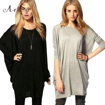 DCCKHY9 New Batwing Sleeve Long T-shirt women tops fashion 2015 winter shirts long Sleeve camisetas plus size ropa mujer tee basic YJ806