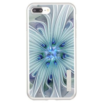 Floral Beauty Abstract Modern Blue Pastel Flower Incipio DualPro Shine iPhone 7 Plus Case
