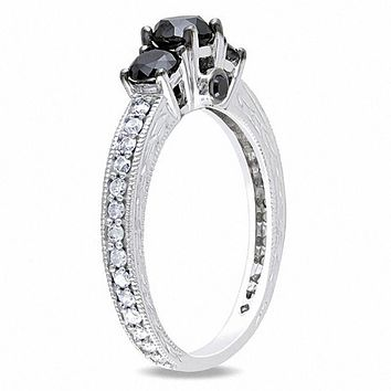 1-1/4 CT. T.W. Enhanced Black and White Diamond Three Stone Engagement Ring in 14K White Gold