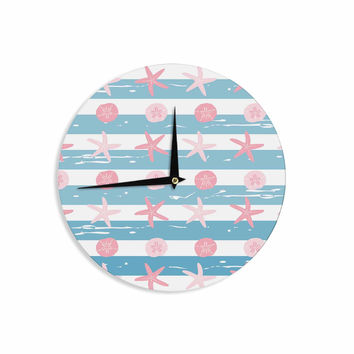 "afe images ""Starfish And Sand Dollar Pattern"" Pink Blue Digital Wall Clock"