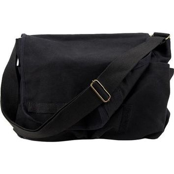 Vintage Style Canvas Messenger Bag - Black