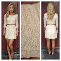 Taupe Lace 3/4 Sleeve Dress with Belt
