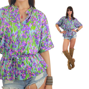 Floral tunic top blouse 70s Peasant blouse neon shirt  purple floral short sleeve long tunic Hippie shirt Boho shirt Gypsy shirt  L Large