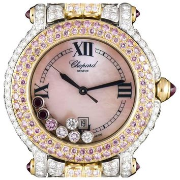 Chopard Ladies Yellow White Gold Fully Loaded Diamond Pink Diamond Wristwatch