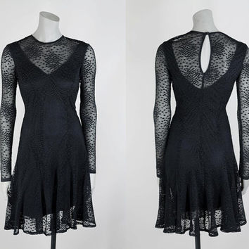SALE Vintage 90s Dress / 1990s Casadei Black Sheer Dotted Net Mini Dress XS