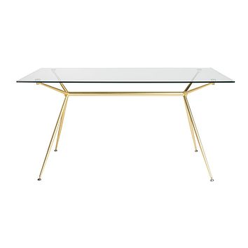 """Atos 60"""" Rectangle Dining Table/Desk with Clear Tempered Glass Top and Matte Brushed Gold Base"""