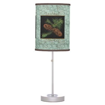 Pine Cone Watercolor on Green Damask | Christmas Desk Lamps