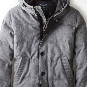 AEO 's Quilted Wool Down Jacket (Charcoal)