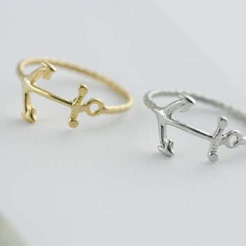 anchor ring in gold / silver by applelatte on Etsy