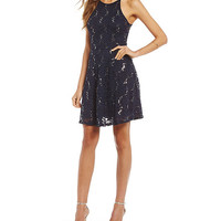 Honey and Rosie High-Neck Sequin Lace Skater Dress | Dillards