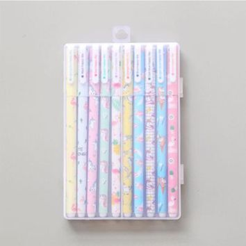 Colored Pen Flamingo Unicorn Animals Ink Pe Promotional Gift for Writing Cute Stationery School Office Supply Suit Pen