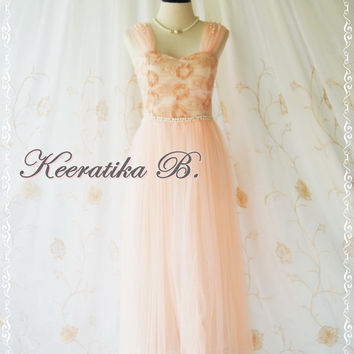 Cinderella Night - Sweet Peach Dress Cocktail Dress Wedding Bridesmaid Dress Prom Dress Party Dress Tutu Floor Length Dress