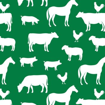 farm animal medley - green fabric - littlearrowdesign - Spoonflower