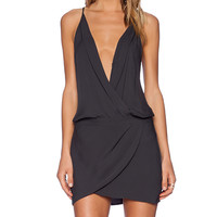 Mason by Michelle Mason Cami Wrap Mini Dress in Charcoal