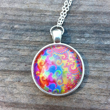 LSD Blotter Necklace Rainbow Fractal - Metal & Glass - Rave Necklace - Festival - Psychedelic - Trippy - Retro - Hippie - Boho - Pride