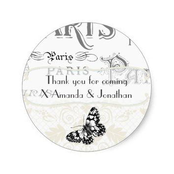 Vintage Paris Themed Wedding Party Personalized Classic Round Sticker