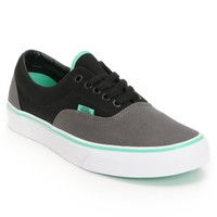 Vans Era Charcoal, Black, & Mint Green Skate Shoes (Mens)