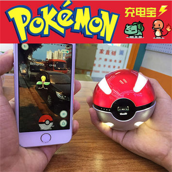 10000mah universal Pokeball Power Bank Charger for Any mobile phone Custom Game Pokemon Go Power bank With Retail Box p20