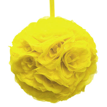 Flower Kissing Balls Wedding Centerpiece, 10-inch, Yellow