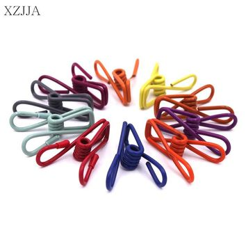 XZJJA 10Pcs Colorized Stainless Steel Clothes Pegs Hanging Clothes Pins Useful Beach Towel Clips Household Bed Sheet Clothespins
