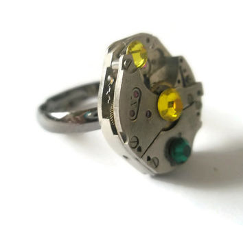 Steampunk Ring Victorian Jewellery Vintage Watch Movement Antique Black adjustable band Emerald Citrine  Fantasy Ring