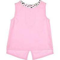 River Island Mini girls pink split back sleeveless top