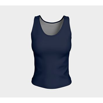 Solid Fitted Tank Top - Navy
