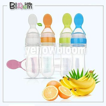 Baby Squeezing Feeding Spoon Silicone Training Scoop Rice Cereal Food Supplement Feeder Safe Tableware Medicine Extrusion Tools