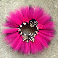 Hot Pink Leopard Tutu - Fluffy Baby Tutu Set - Cheetah Tutu - Tutu & Headband Set - Baby Photo Prop - Birthday Tutu - Newborn Tutu
