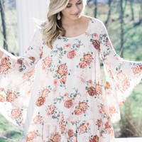 Marisol Floral Bell Sleeve Dress, Ivory