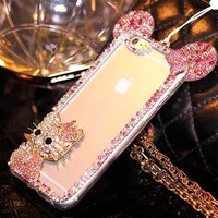 3D Hello kitty with bling diamond Rhinestone Mickey cover for Samsung Galaxy A3 2016 A5 2016 A7 2016 phone case Cover With chain
