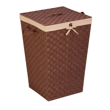 Honey Can Do HMP-02980 Woven Strap Hamper with Liner And Lid û Java and Brown